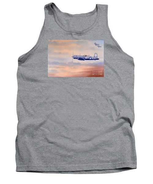 Tank Top featuring the painting Vought F4u-1d Corsair Aircraft by Bill Holkham
