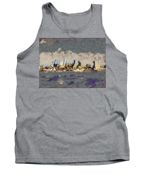 Tank Top featuring the mixed media Wacky Philly Skyline by Trish Tritz