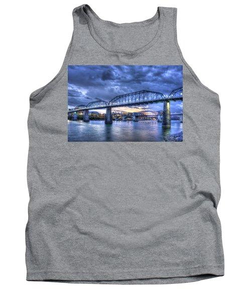 Walnut Street Pedestrian Bridge Sunset Chattanooga Tennessee Art Tank Top
