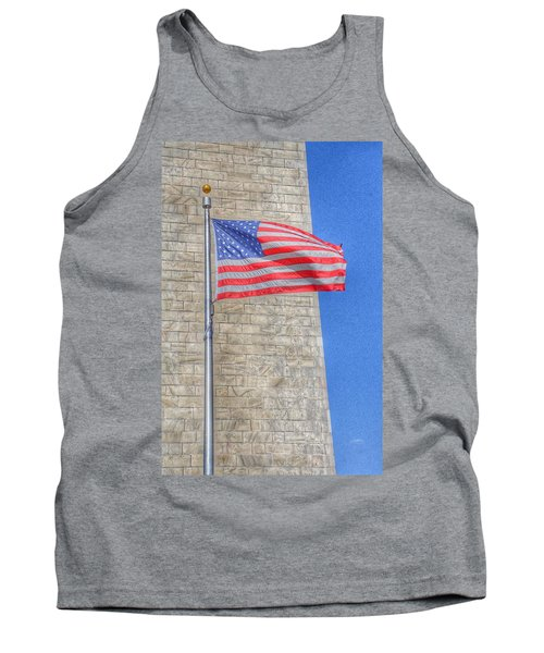 Washington Monument With The American Flag Tank Top