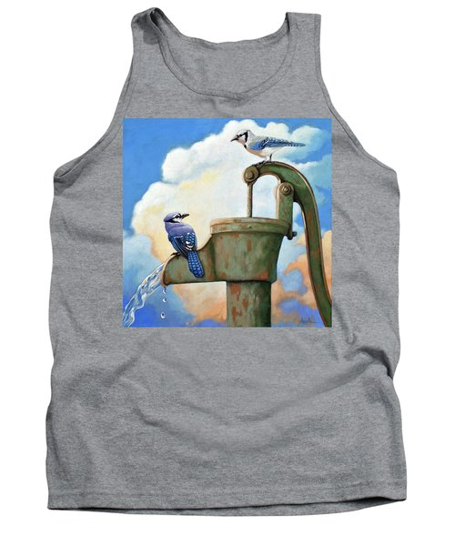 Tank Top featuring the painting Water Is Life #3 -blue Jays On Water Pump Painting by Linda Apple