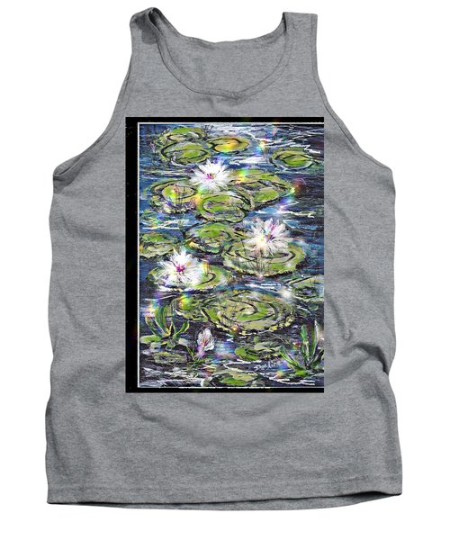 Tank Top featuring the painting Water Lilies And Rainbows by Desline Vitto