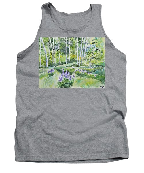 Watercolor - Early Summer Aspen And Lupine Tank Top