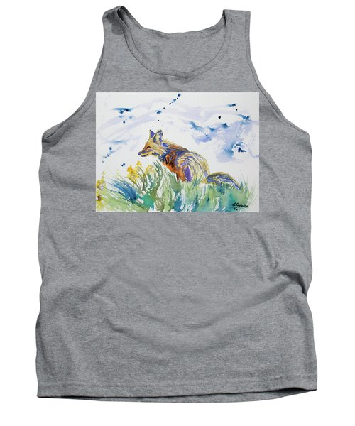 Watercolor - Fox On The Lookout Tank Top