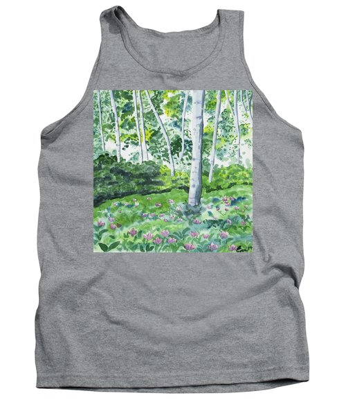 Watercolor - Spring Forest And Flowers Tank Top