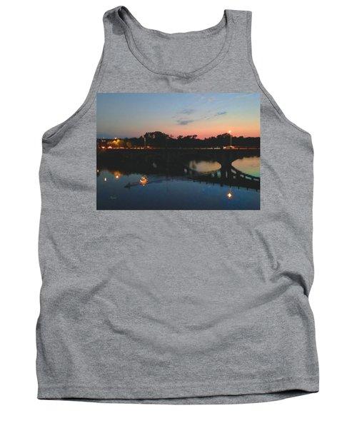 Watercolor Sunset Over Lamar Street Bridge Austin Texas Tank Top
