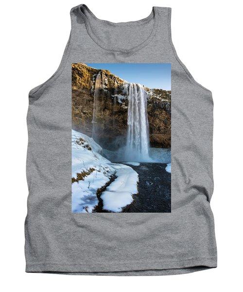 Waterfall Seljalandsfoss Iceland In Winter Tank Top by Matthias Hauser