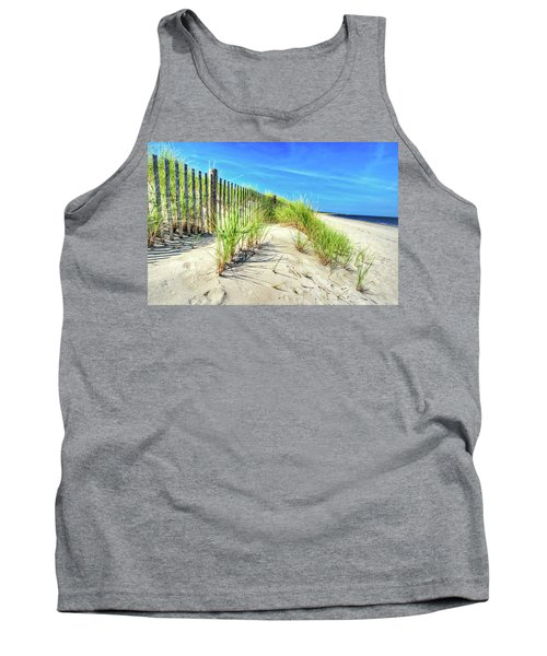 Tank Top featuring the photograph Waterfront Sand Dune And Grass by Gary Slawsky