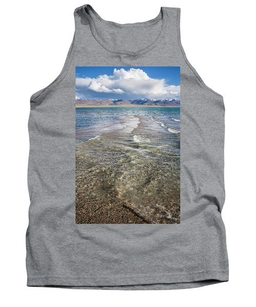 Tank Top featuring the photograph Waves Of Namtso, Tibet, 2007 by Hitendra SINKAR
