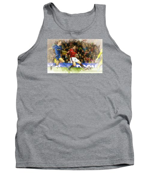 Wayne Rooney Of Manchester United Scores Tank Top by Don Kuing