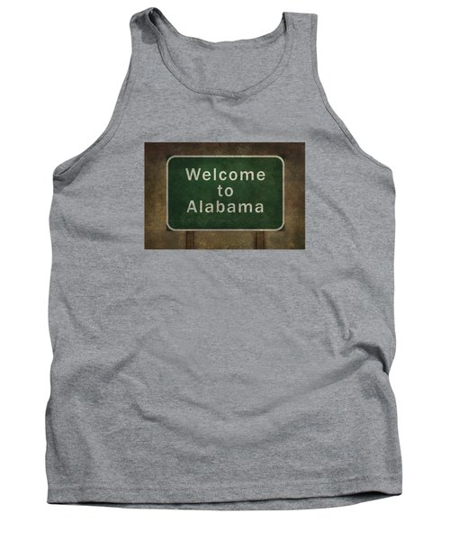 Welcome To Alabama Roadside Sign Illustration Tank Top