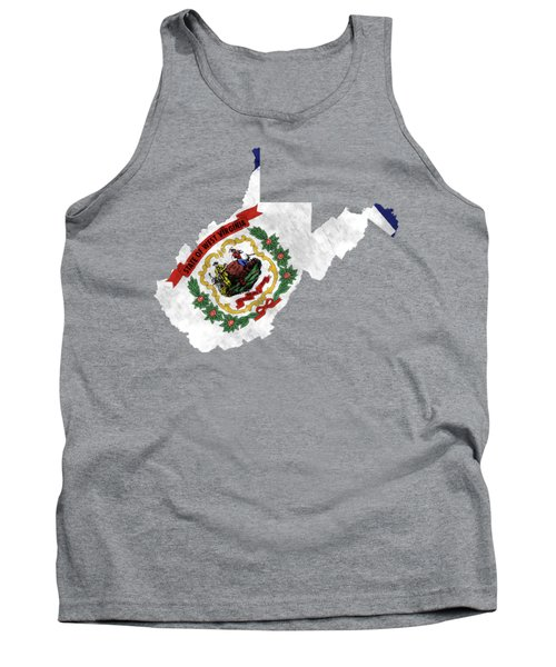 West Virginia Map Art With Flag Design Tank Top