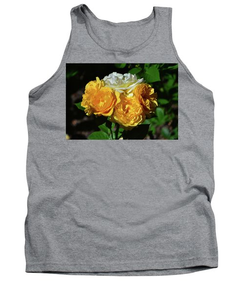 Tank Top featuring the photograph White And Yellow Rose Bouquet 001 by George Bostian