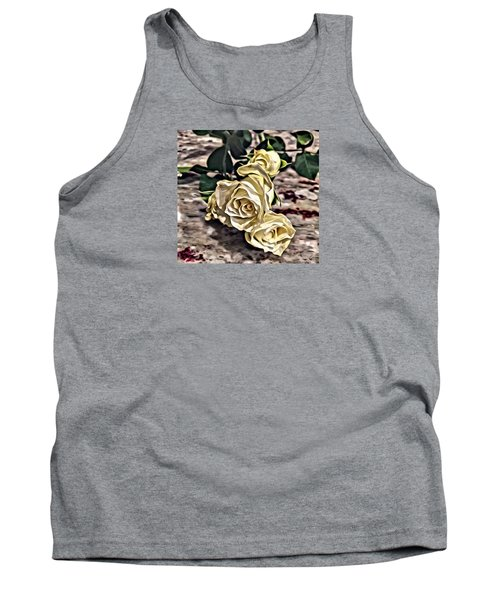 White Baby Roses Tank Top