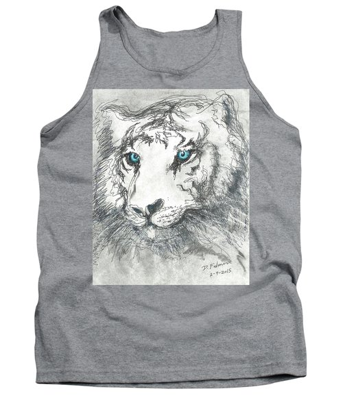 Tank Top featuring the drawing White Bengal Tiger by Denise Fulmer
