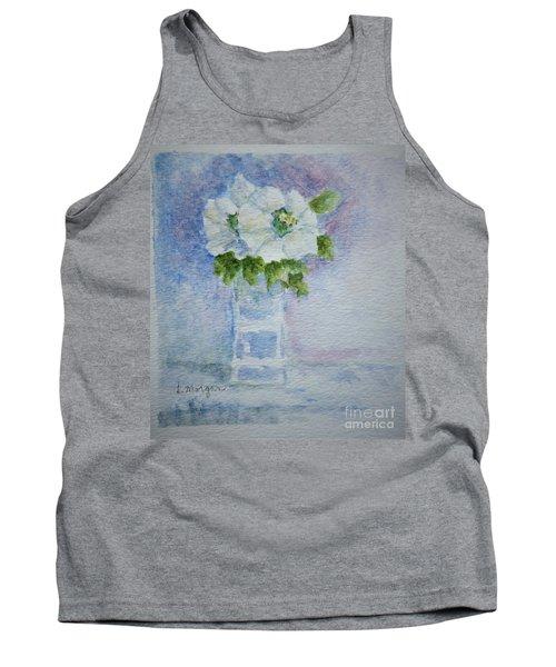 White Blooms In Blue Vase Tank Top