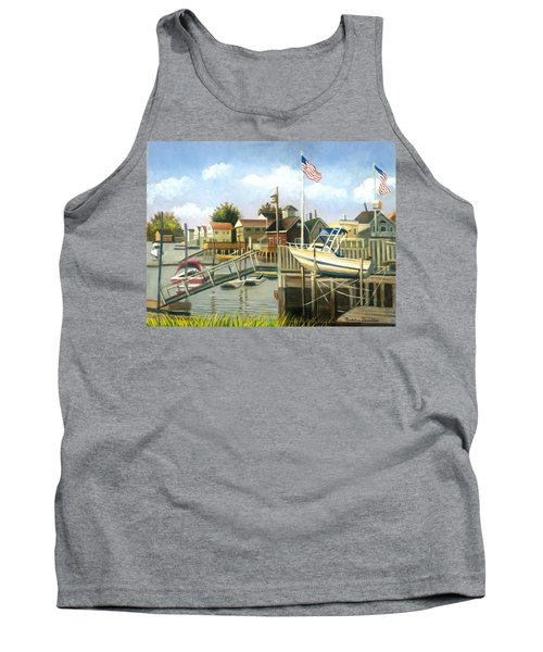 White Boat With Flags In Broad Channel Tank Top