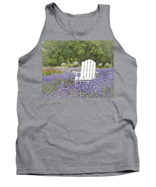 Tank Top featuring the photograph White Chair In A Field Of Lavender Flowers by Brooke T Ryan