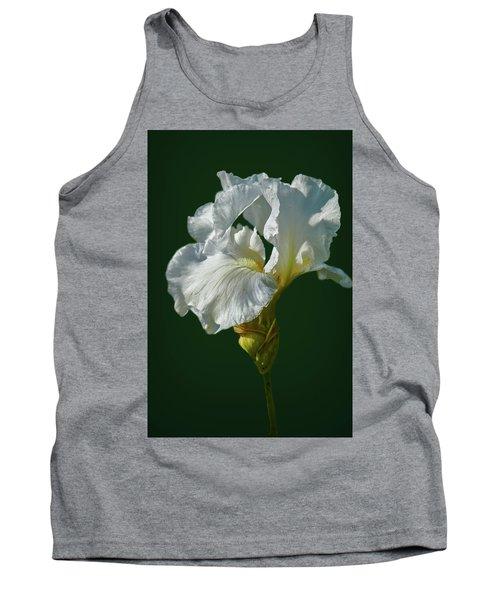 White Iris On Dark Green #g0 Tank Top