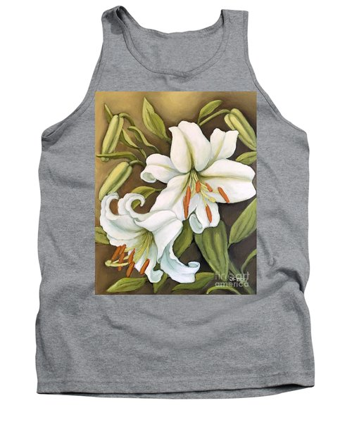 White Lilies Tank Top by Inese Poga