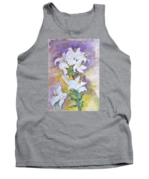 White Lilies Tank Top by Jasna Dragun
