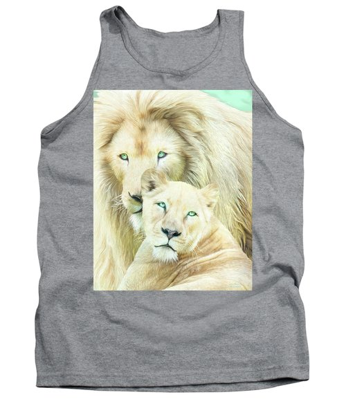 Tank Top featuring the mixed media White Lion Family - Mates by Carol Cavalaris