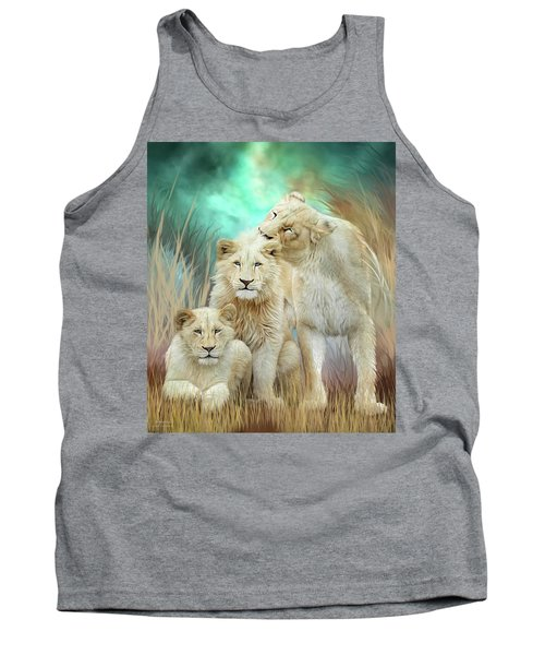 Tank Top featuring the mixed media White Lion Family - Mothering by Carol Cavalaris