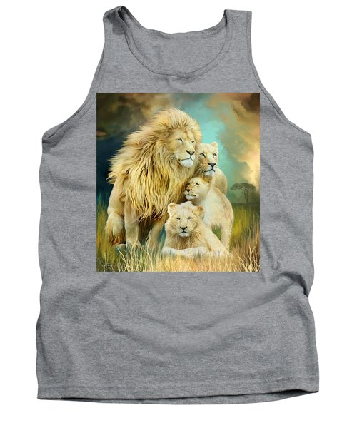 Tank Top featuring the mixed media White Lion Family - Unity by Carol Cavalaris