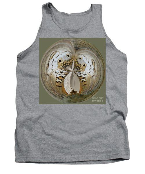 White Peacock Butterfly Orb Tank Top