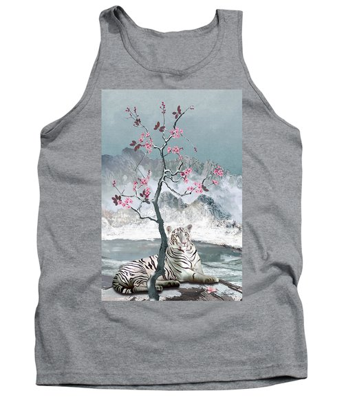 White Tiger And Plum Tree Tank Top
