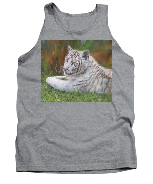Tank Top featuring the painting White Tiger Cub 2 by David Stribbling
