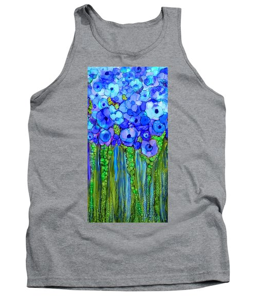 Tank Top featuring the mixed media Wild Poppy Garden - Blue by Carol Cavalaris