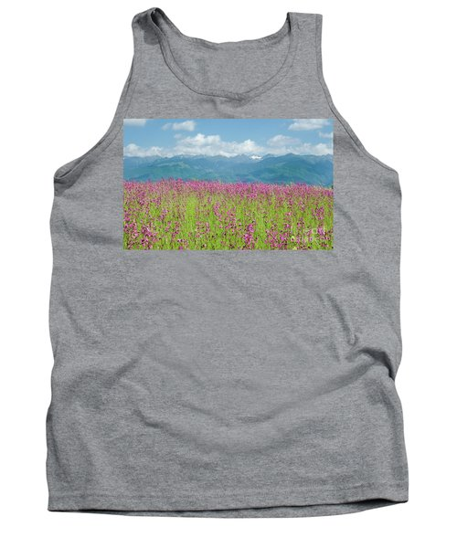 Wildflower Meadows And The Carpathian Mountains, Romania Tank Top