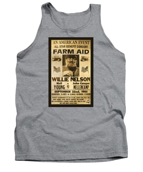 Willie Nelson Neil Young 1985 Farm Aid Poster Tank Top by John Stephens