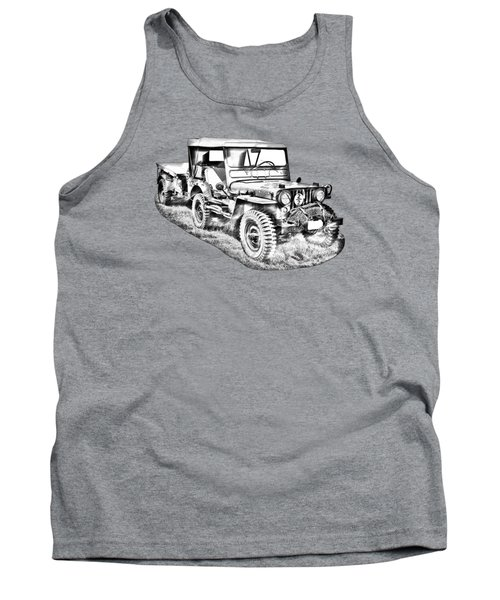 Willys World War Two Army Jeep Illustration Tank Top
