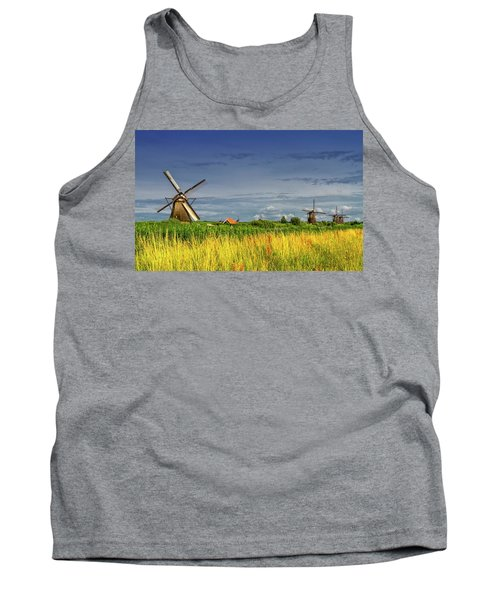 Windmills In Kinderdijk, Holland, Netherlands Tank Top by Elenarts - Elena Duvernay photo
