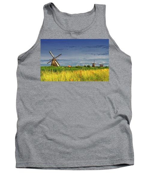 Windmills In Kinderdijk, Holland, Netherlands Tank Top