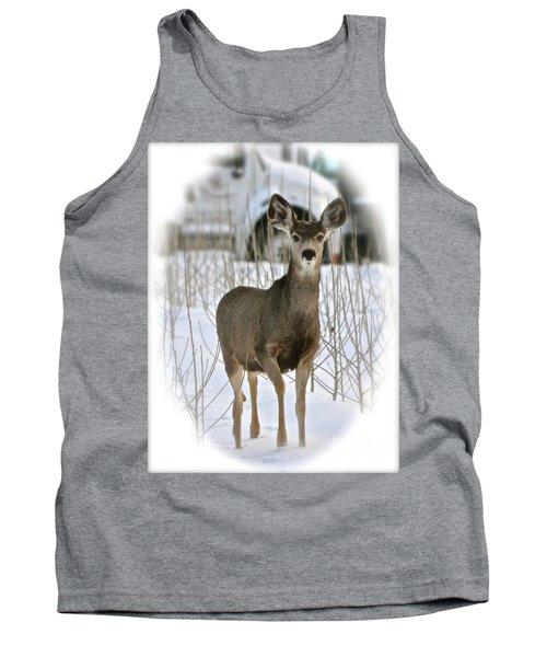 Winter Deer On The Tree Farm Tank Top