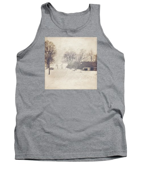 Winter Snow Storm At The Farm Tank Top