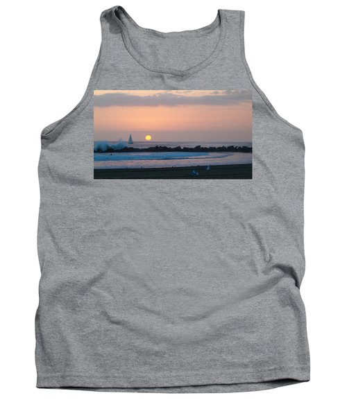 Winter Sunset, Venice Breakwater Tank Top by Mark Barclay