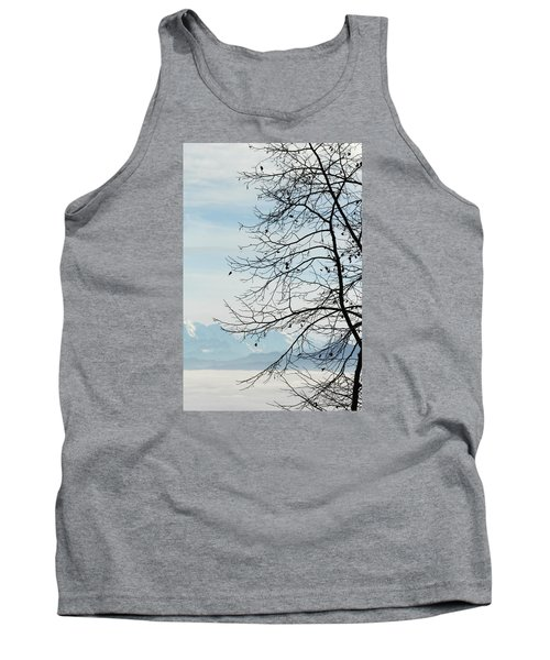 Winter Tree And Alps Mountains Upon The Fog Tank Top