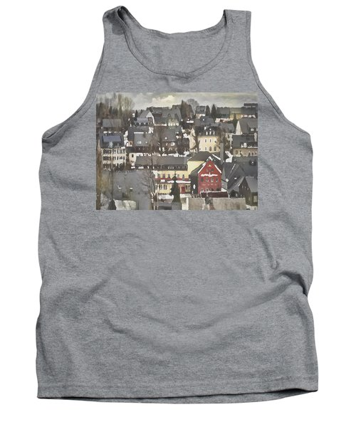 Tank Top featuring the digital art Winter Village With Red House by Shelli Fitzpatrick
