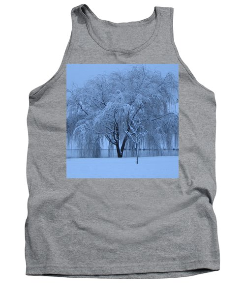 Winter Willow Tree Before Dawn_fort Worth_tx Tank Top by Barbara Yearty
