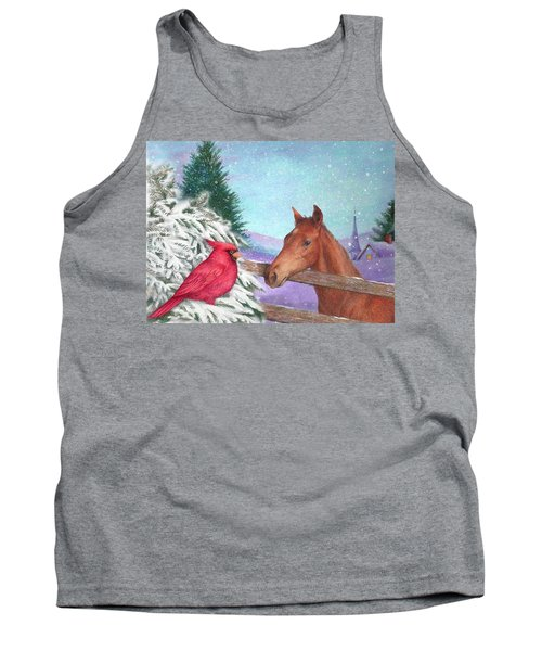 Tank Top featuring the painting Winterscape With Horse And Cardinal by Judith Cheng