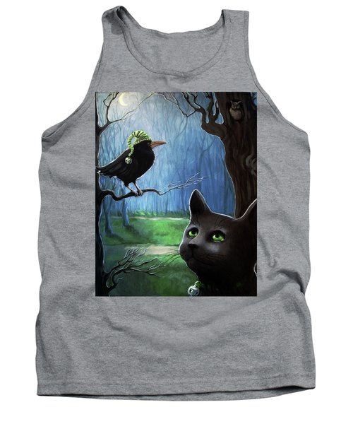 Tank Top featuring the painting Wit's End - Winter Nightime Forest by Linda Apple