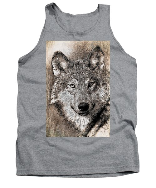 Tank Top featuring the digital art Wolf  by Aaron Berg