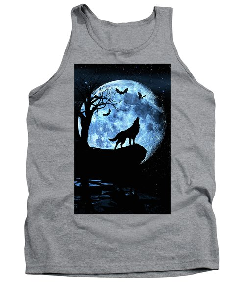 Tank Top featuring the photograph Wolf Howling At Full Moon With Bats by Justin Kelefas