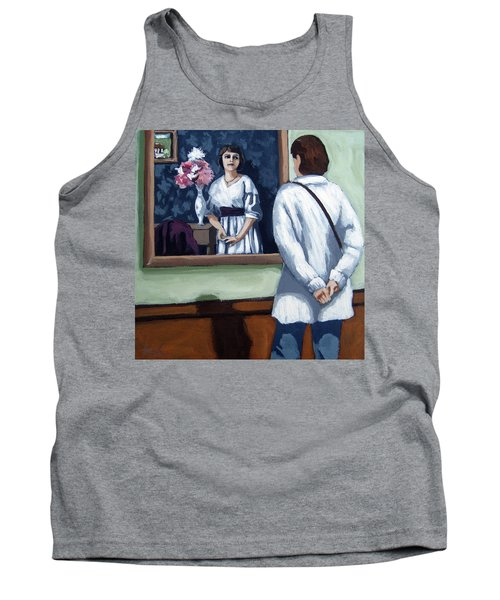 Tank Top featuring the painting Woman At Art Museum Figurative Painting by Linda Apple