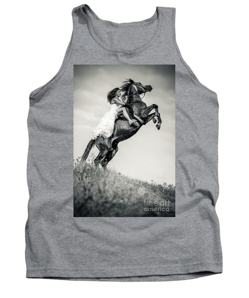 Tank Top featuring the photograph Woman In Dress Riding Chestnut Black Rearing Stallion by Dimitar Hristov