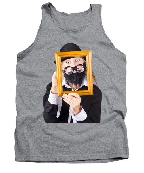 Tank Top featuring the photograph Woman With Empty Picture Frame by Jorgo Photography - Wall Art Gallery